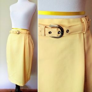 Vintage canary yellow Bedford Fair skirt with belt